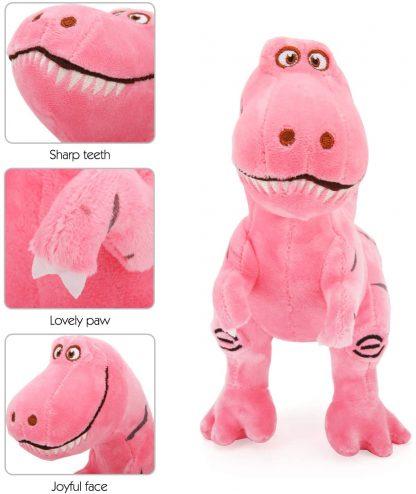 peluche dinosaure rose vu d'ensemble