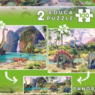 Puzzle 2 x 100 pièces Dino World - Educa Borrás