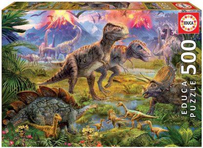Puzzle 500 pièces Rencontre Entre Dinosaures - Educa
